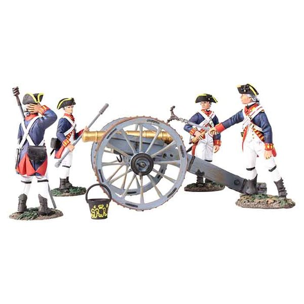 16015 - British Royal Artillery 6 Pound Gun with 4 Man Crew