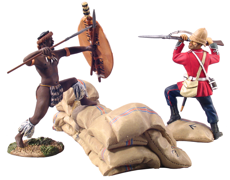 20029 - Defending the Wall, British24th Foot Bayoneting Zulu uDloko Regiment Warrior