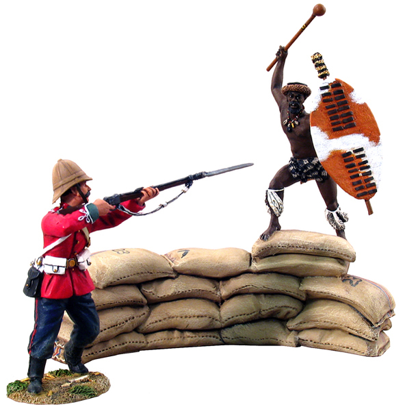 20030 - Breaching the Wall, British 24th Foot Firing at Attacking Zulu uDloko Regiment Warrior