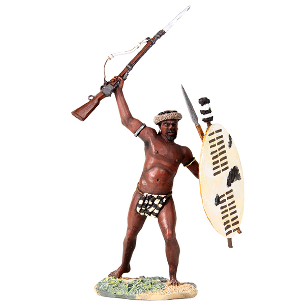 "20152 - ""The Trophy"" - Zulu Warrior Holding Martini-Henry Above Head"