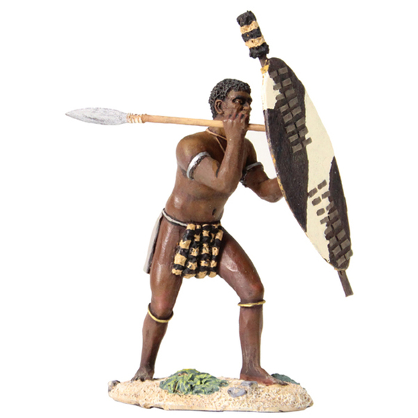 20154 - Zulu Warrior Beating Shield with Spear