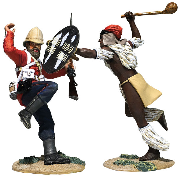 "20183 - ""Pressing Home The Attack"" Zulu Warrior and British 24th Foot Hand-To-Hand Set"