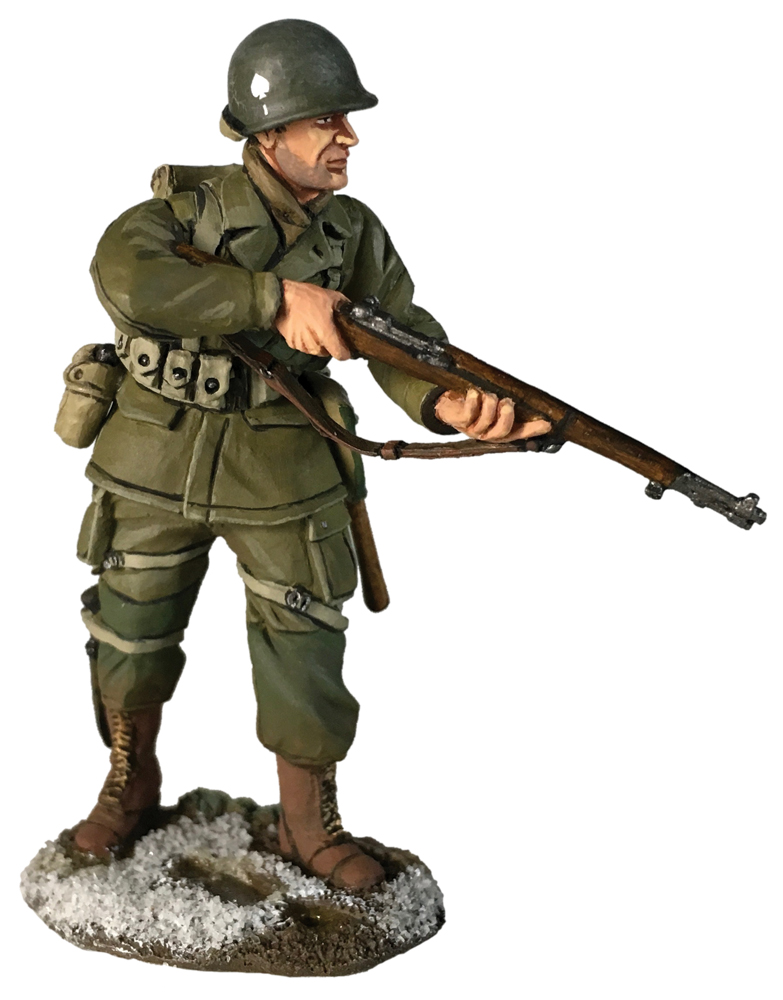 Britain US 101st Airborne Infantry Wearing Overcoat Reaching for Ammo Winter W