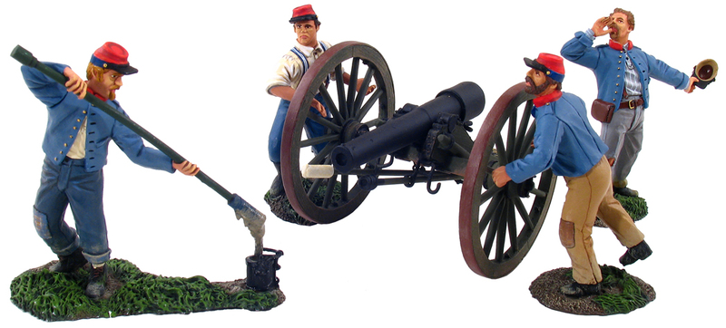 31032 - Confederate Artillery Set No.2, Return to Battery, 10 Pound Parrot Gun and 4 Man Crew