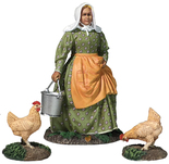 31280 Miss Dayfield - woman doing chores with two Chickens - W.Britain