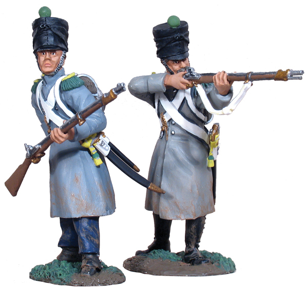 36011 - French Light Infrantry Voligeurs in Greatcoats Firing Line Set No.1