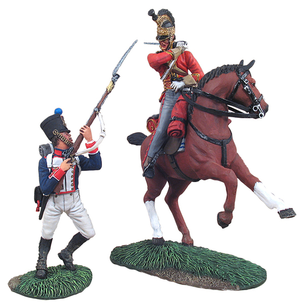 36081 - Napoleonic Waterloo Campaign, British 1st Royal Dragoon Captail parrying with French 105th Ligne Fusilier Hand-to-Hand Set