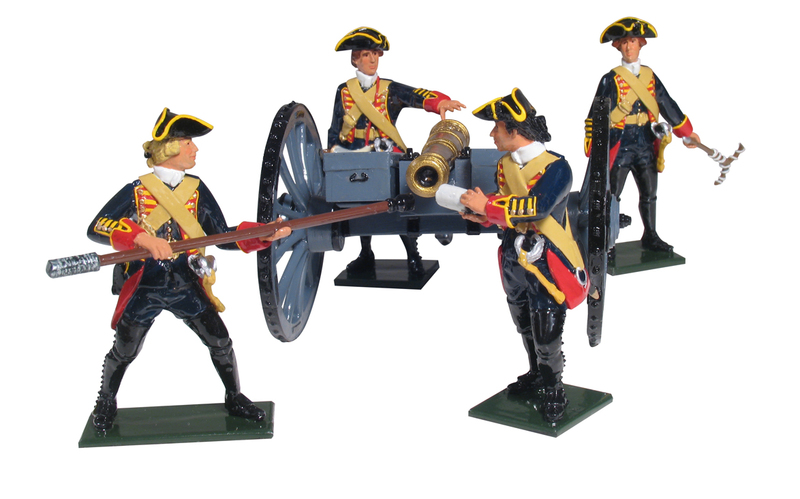 43144 - British Royal Artillery 6 Pound Gun and Four Man Crew, 1754-1763