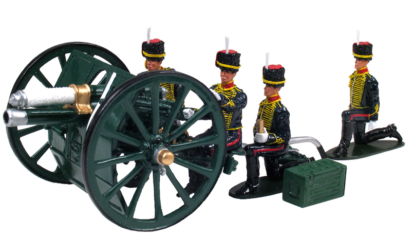 44053 - British, King's Troop, Royal Horse Artillery Set, 13 Poind QF Gun and Four Man Crew, Present Day