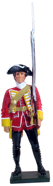 47028 - British 35th Regiment of Foot Centre Company At Attention, 1754-1763