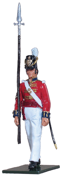 48003 - The Coldstream Regiment of Foot Guards NCO's Marching at Advance Arms with Pike, Napoleonic Wars, 1815
