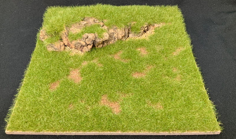 "HA2067.17 - 12"" x 12"" Grass Field with Rock Outcropping Scenic Base"
