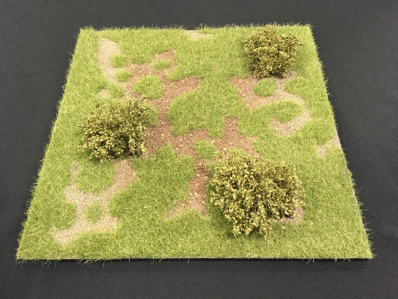 "HA2067.2 - 12"" x 12"" Grass Field with Low Bushes Scenic Base"