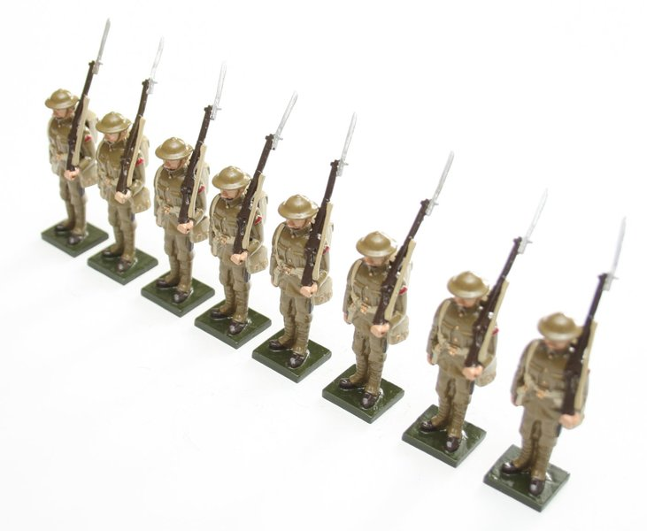 WWI Soldiers, in tin helmet, at attention - BTSC-SET51
