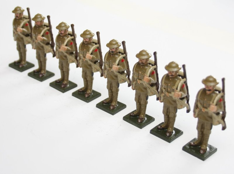 WWI Troops, in tin helmet, at attention, rifle over shoulder - BTSC-SET70