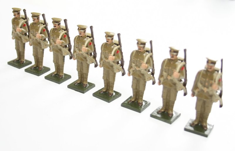 WWI Troops, in peak cap, at attention, rifle over shoulder - BTSC-SET72