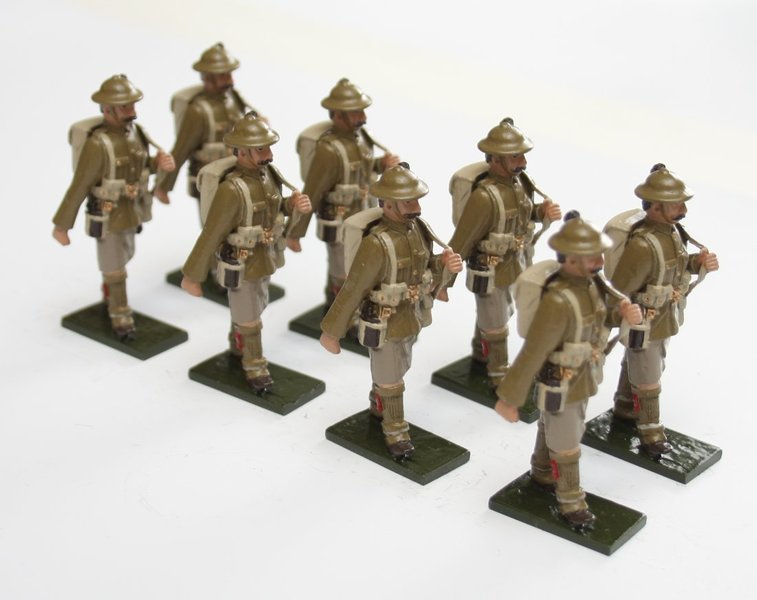 WWI Troops, Highland Regiment, in tin helmet, marching, rifle over shoulder - BTSC-SET75