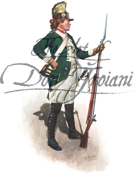 French Private, dismounted Belsunce Dragoon 1779, Savannah