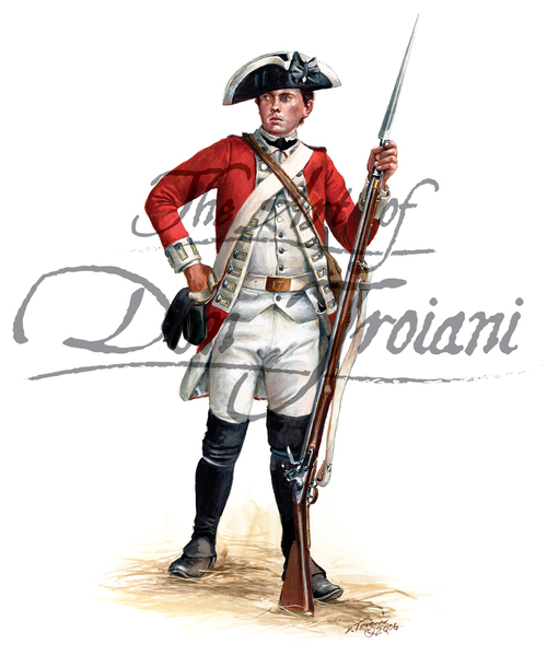 Private of British 17th Regiment of Foot as he would have appeared at the battle of Princeton